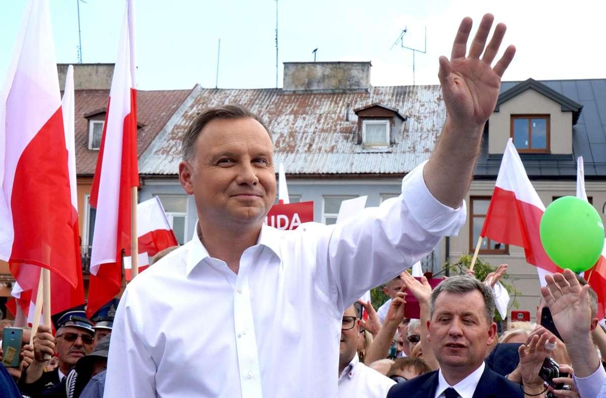 Polens Präsident Andrzej Duda: Muss das Gesetz nur noch unterschreiben. (Archivbild) Foto: AFP/JANEK SKARZYNSKI