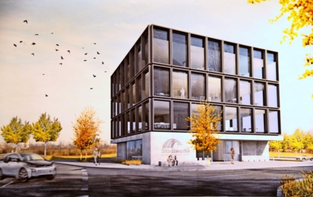 So soll der Stadtwerke-Verwaltungsneubau in Leinfelden einmal aussehen. Der Siegerentwurf des Büros Lima Architekten basiert auf viel Glas. Foto: Norbert J. Leven
