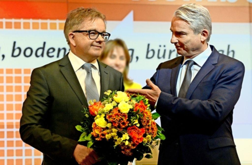 CDU-Landeschef Thomas Strobl (rechts) und Landtagspräsident Guido Wolf Foto: dpa