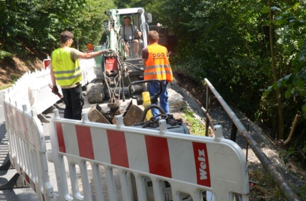 Der Gehweg an der Straße im Elsental im Dachswald ist saniert worden. In ein paar Tagen kann auch der Bauzaun weg. Foto: Sandra Hintermayr