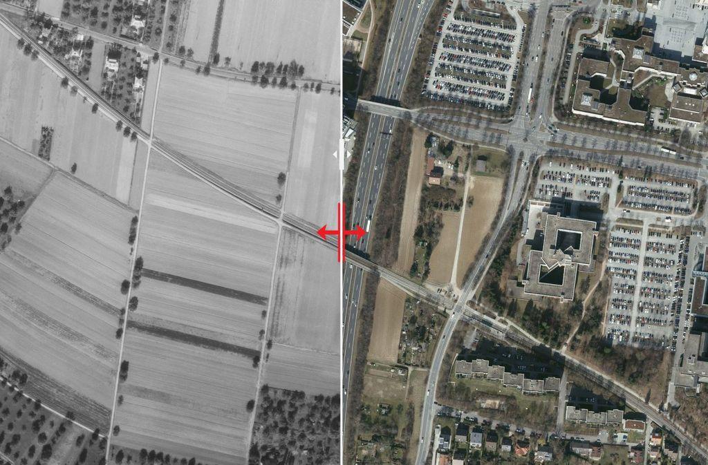 Zwischen 1955 und 2015 hat sich um Umfeld der heutigen Landhauskreuzung eine ganze Menge getan. Foto: