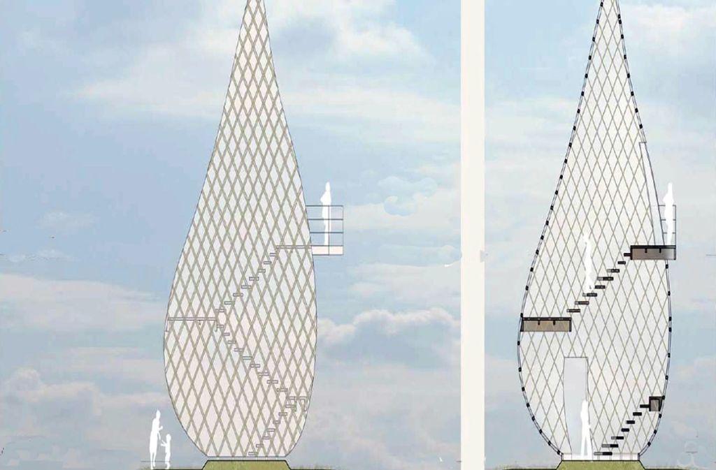 Bereits 2016 wurden im Sillenbucher Bezirksbeirat Pläne für die zwölf Meter hohe und mit einer Plattform versehene Holzkonstruktion gezeigt. Foto: Planstatt Senner