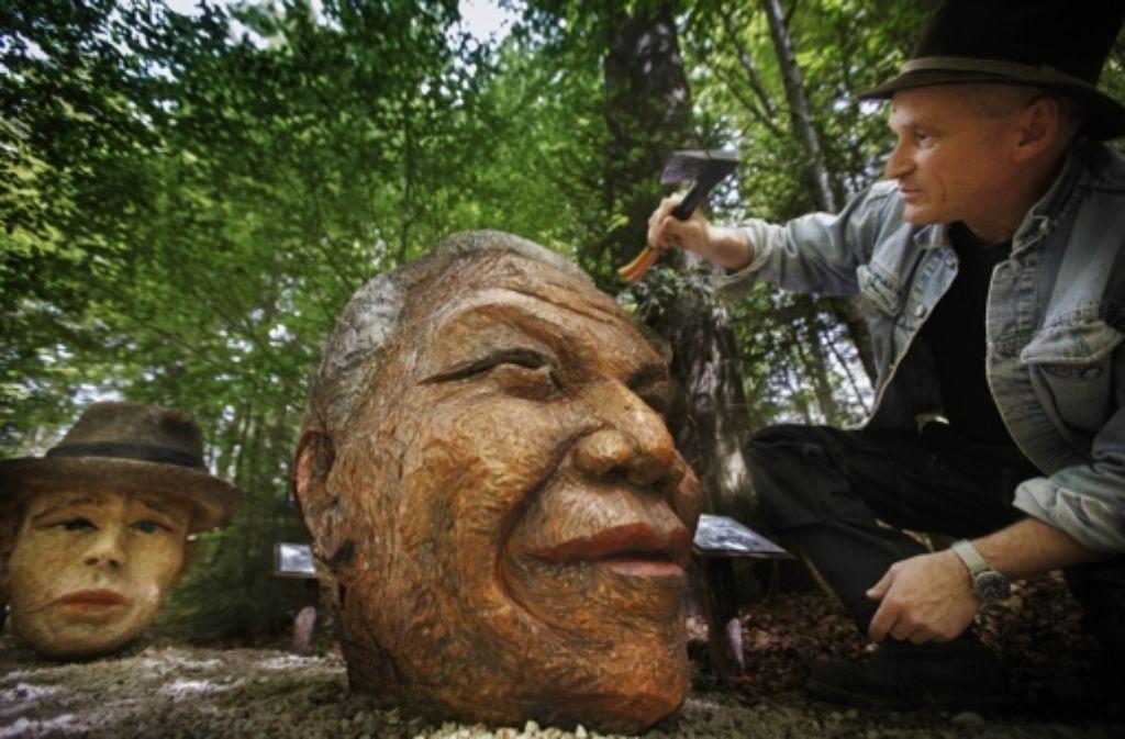 Hansjörg Palm, Auge in Auge mit  dem Präsidenten Nelson Mandela Foto: Gottfried Stoppel