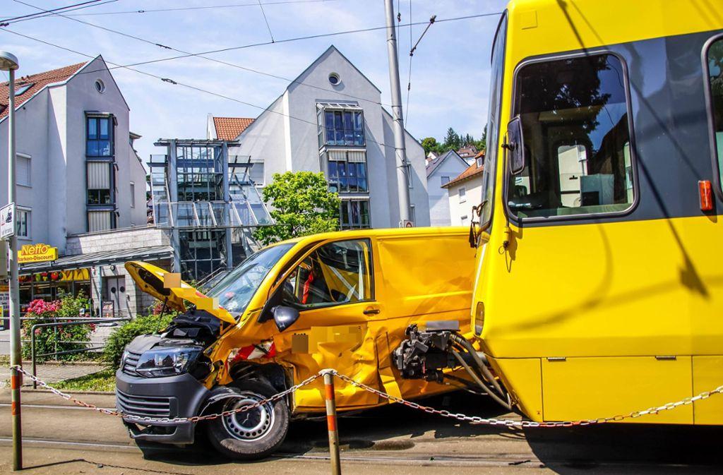Am Montag ist es zu einem Stadtbahnunfall in Heslach gekommen. Foto: 7aktuell.de