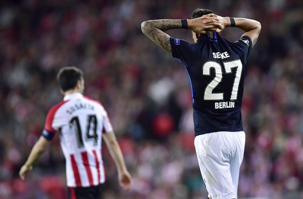 Hertha BSC ist nach dem 2:3 in Bilbao aus der Europa League augeschieden. Foto: AP