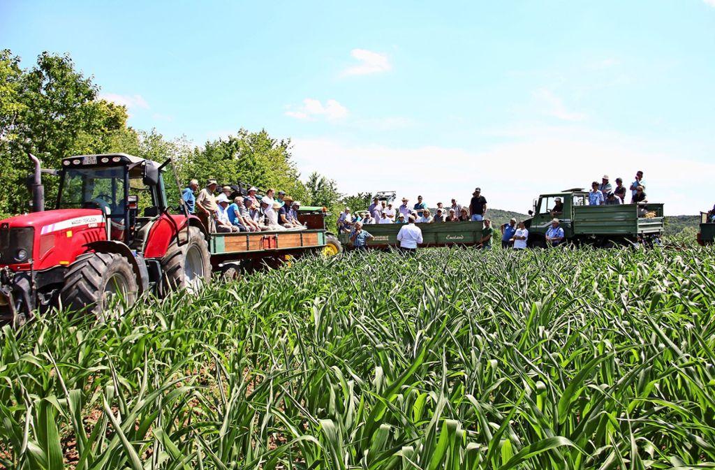 Bei der Tour durch die Felder  ging es  um den Verlauf der künftigen SSB-Trasse  entlang der B 295. Gleichzeitig informierten die Bauern, wie es um die Ernte bestellt ist. Foto: Georg Friedel