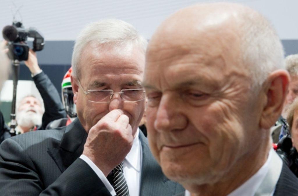 VW-Aufsichtsratschef Ferdinand Piëch (rechts) und Vorstandschef Martin Winterkorn. Foto: dpa