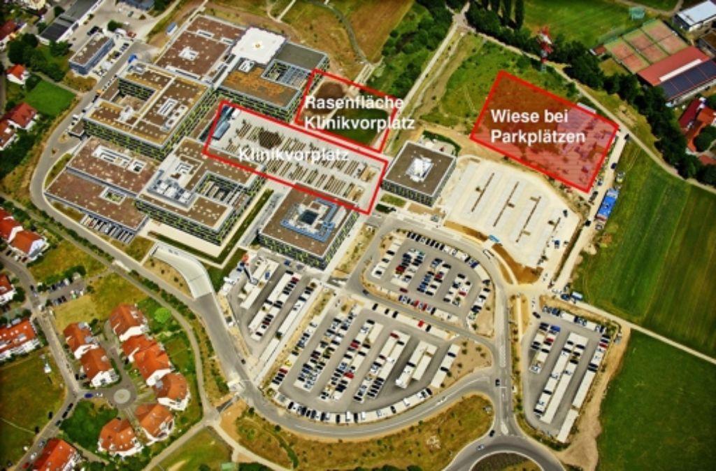Auf drei Flächen soll am Krankenhaus kurzfristig Parkraum geschaffen werden. Foto: Rems-Murr-Kliniken