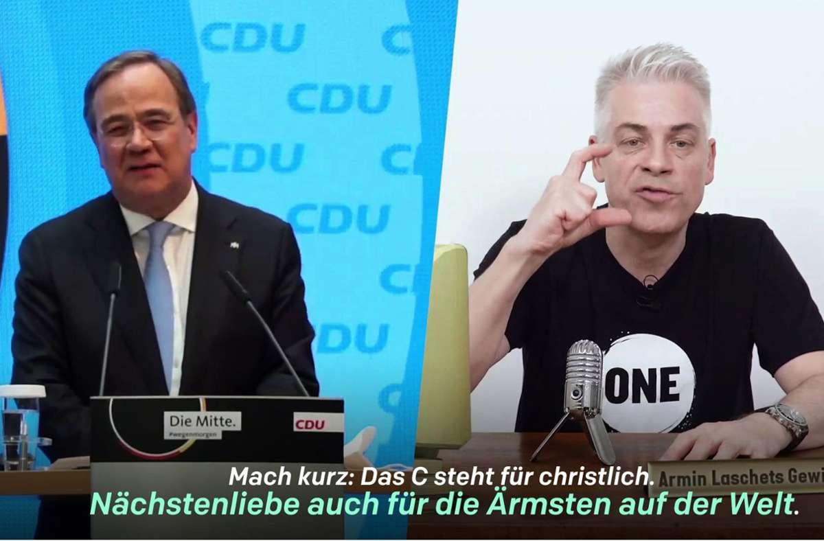 Start einer Comedy-Reihe auf Youtube: Michael Mittermeier (re.) speilt das Gewissen von Armin Laschet. Foto: dpa