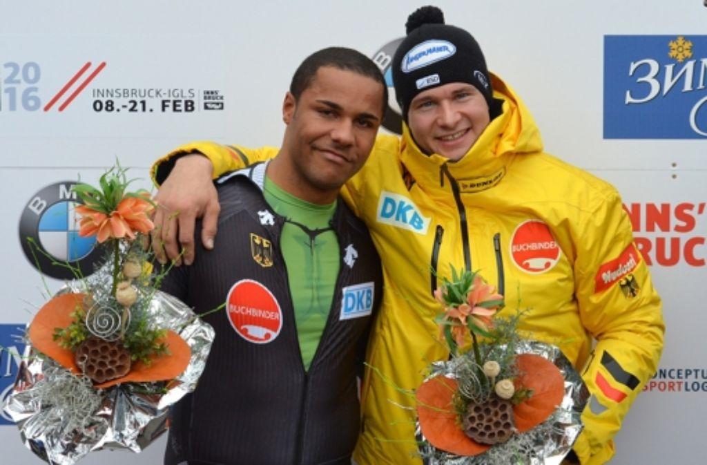 WM-Silbermedaille  im Zweier: Joshua Bluhm (links) und Pilot Johannes Lochner Foto: AP