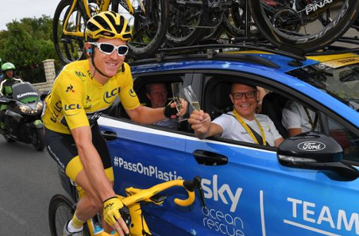 Tour-de-France-Sieger Geraint Thomas fährt durch Stuttgart