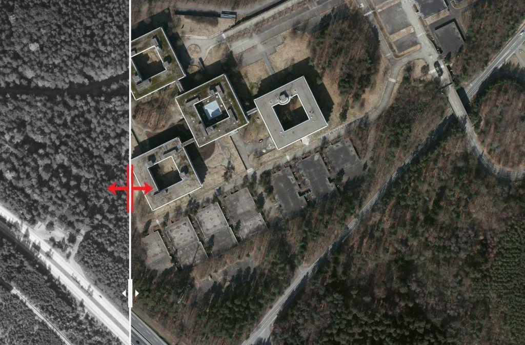 Auf dem Luftbild von 1955 bestand das Gelände aus Wald. Heute sind die vier Gebäude auf dem Areal deutlich im Autobahnkreuz zu sehen. Foto: Stadtmessungsamt/Plavec