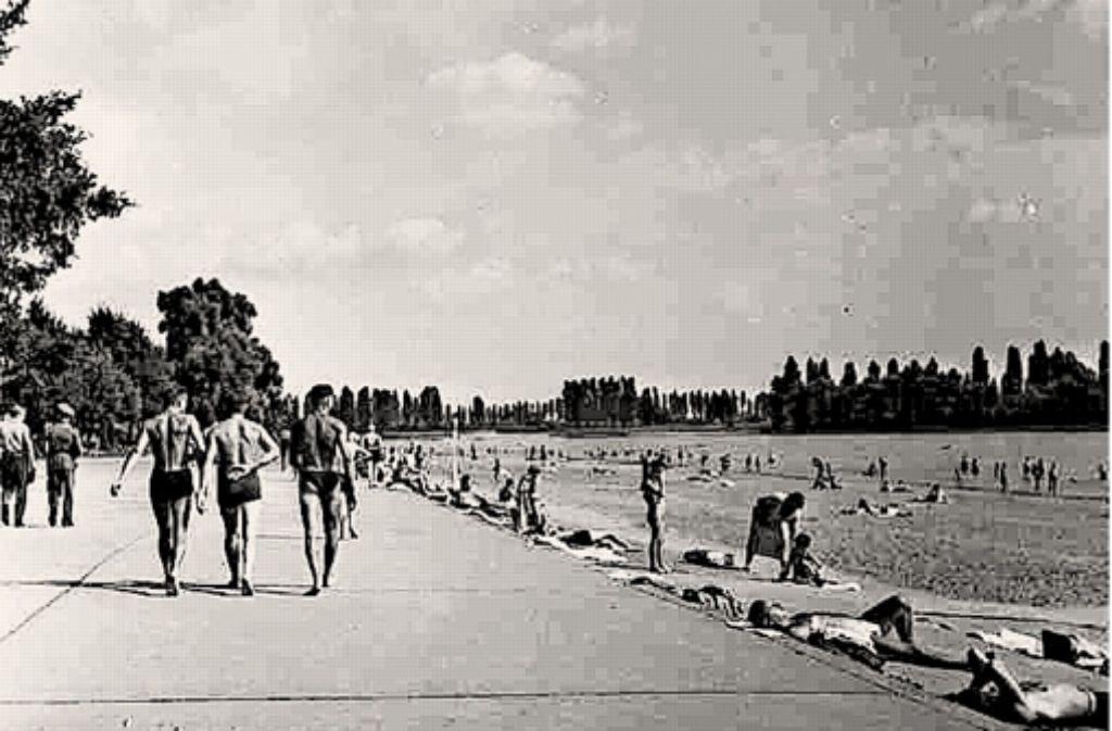 Auch in früheren Tagen war  der etwa einen Kilometer lange Mannheimer Lido mit seinem flachen Strand aus feinem Rheinkies, seinem klarem Wasser und den mächtigen Bäumen   ein Marktplatz für Eitelkeiten. Foto: Stadtarchiv Mannheim/ISGMontage: Miller, Rötgers
