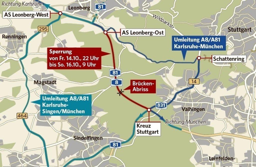 Rot: Hier ist die A8 gesperrt. Blau: Das sind die Umleitungsstrecken. Foto: StZ