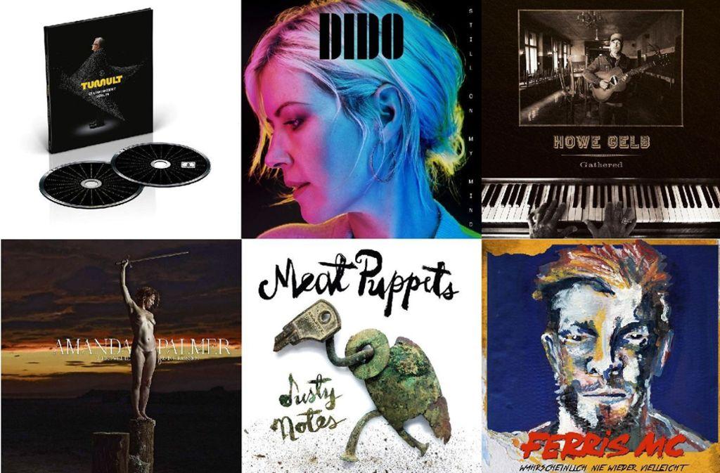 Neuerscheinungen am 8. März von Herbert Grönemeyer, Dido, Howe Gelb, Ferric MC, Meat Puppets und Amanda Palmer (von links oben im Uhrzeigersinn). Foto: Labels