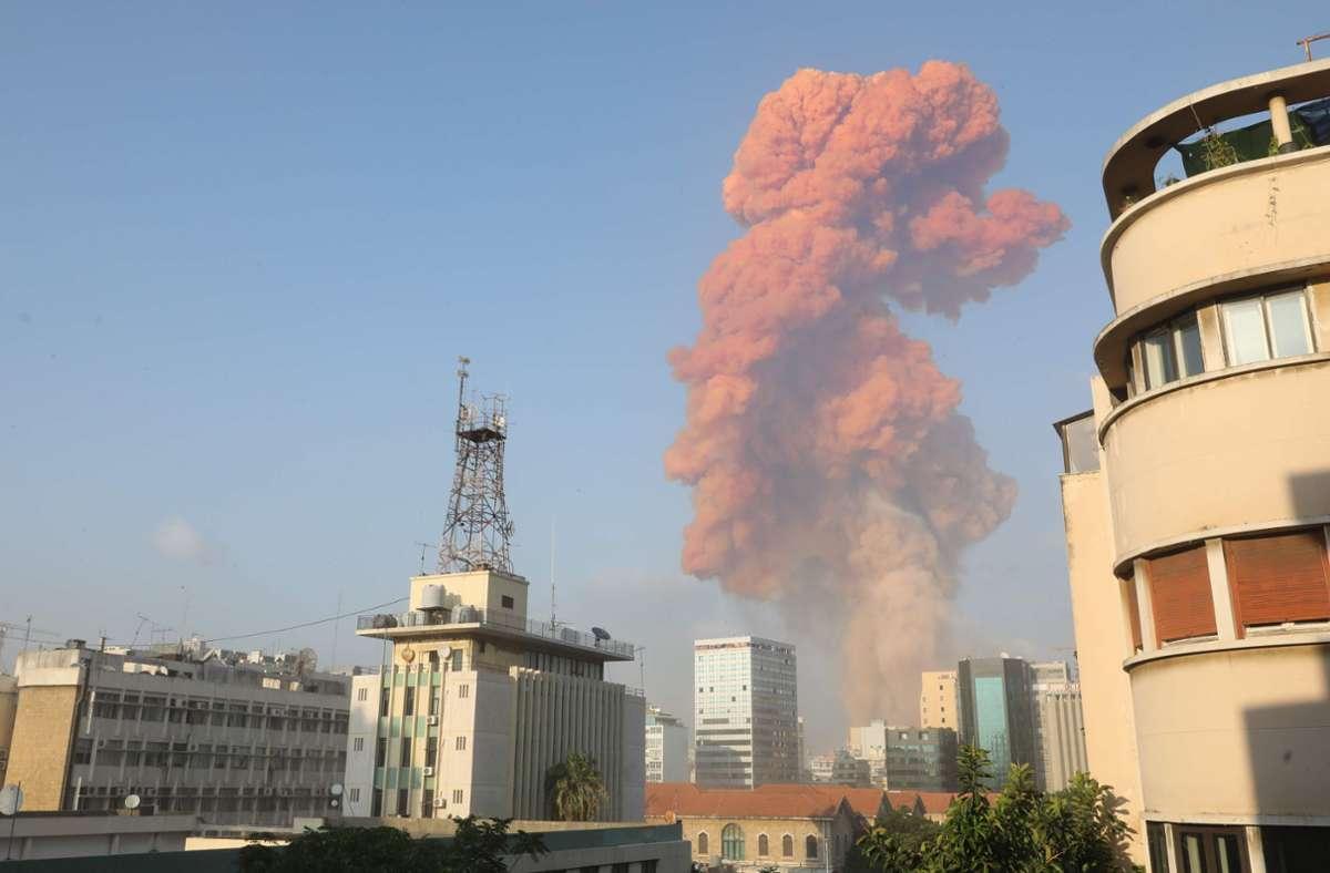 Am Hafen von Beirut ist es zu einer heftigen Explosion gekommen. Foto: AFP/ANWAR AMRO