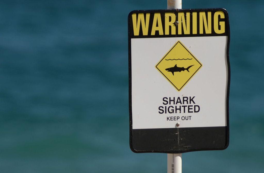 Ein Warnschild an einem Strand im australischen Bundesstaat New South Wales. Foto: AFP