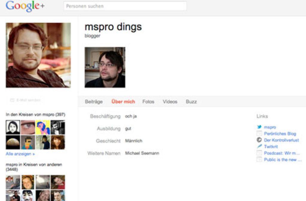 Michael Seemann tritt im Internet, wie hier bei Google Plus, mit dem Pseudonym mspro auf Screenshot: StZ