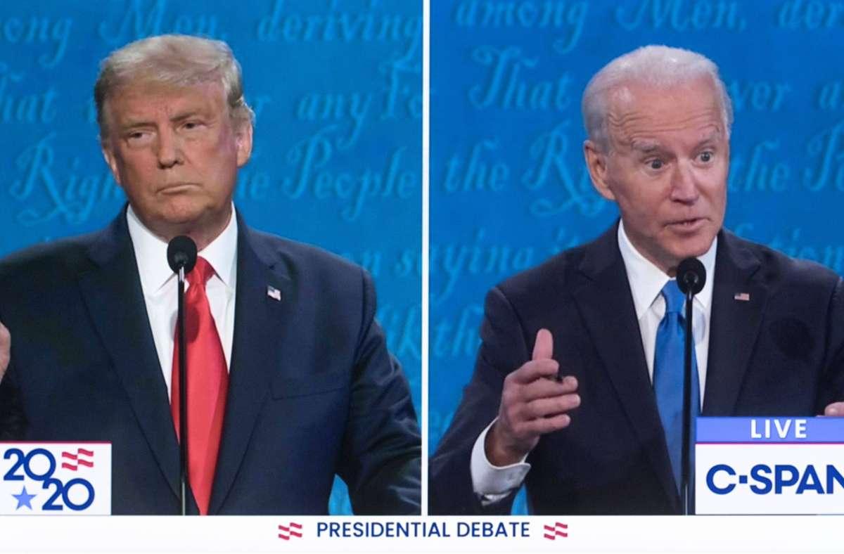 Das TV-Duell zwischen Donald Trump (links) und Joe Biden war in den USA wieder ein großes Ereignis. Foto: imago images/ZUMA Wire/C-Span via www.imago-images.de
