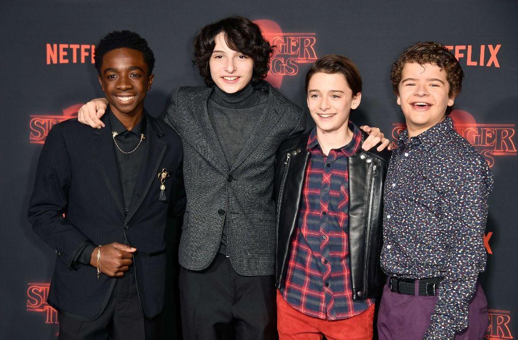 Die Hauptdarsteller Caleb McLaughlin, Finn Wolfhard, Noah Schnapp und Gaten Matarazzo auf dem roten Teppich. Foto: GETTY IMAGES NORTH AMERICA