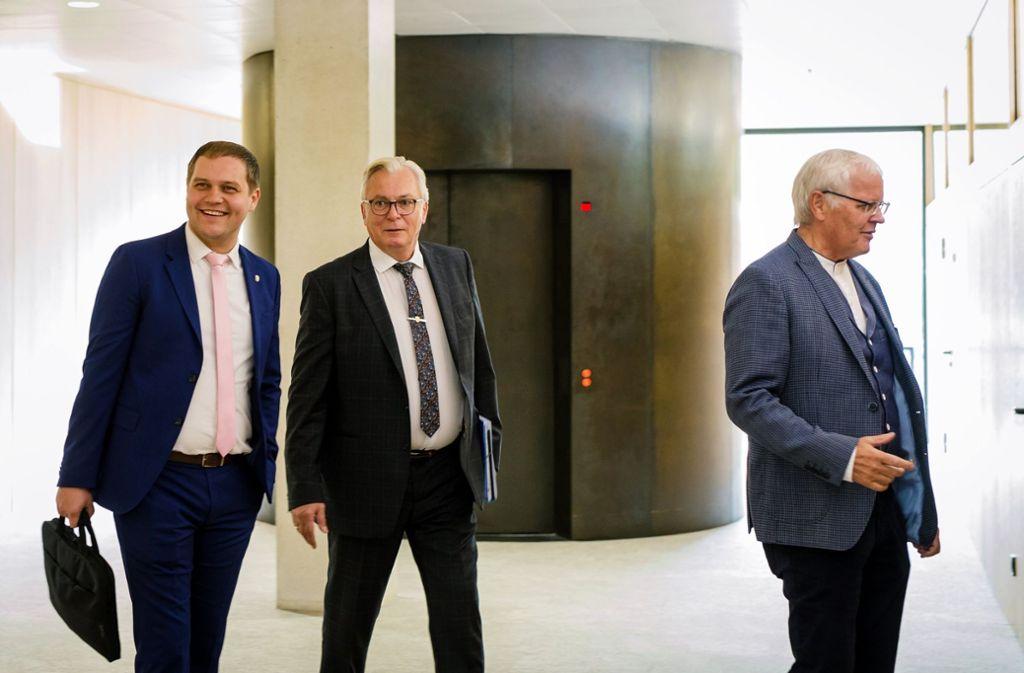 Suchten das Gespräch mit Landtagspräsidentin Aras: AfD-Fraktionsvorstände Baron, Gögel und Sänze (v.l) Foto: dpa