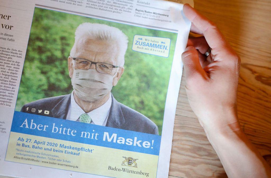 Der Ministerpräsident erinnert die Bürger des Südwestens per Anzeige an ihre Pflicht. Foto: dpa/Christoph Schmidt