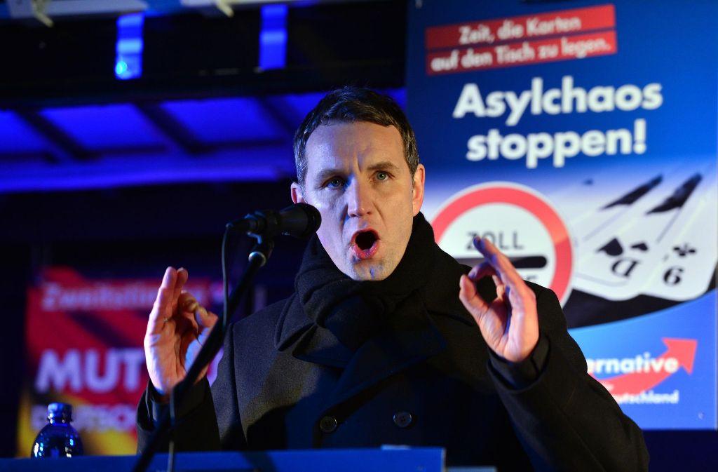 Björn Höcke liebt die Provokation. Hier bei einer Veranstaltung in Merseburg. Foto: dpa