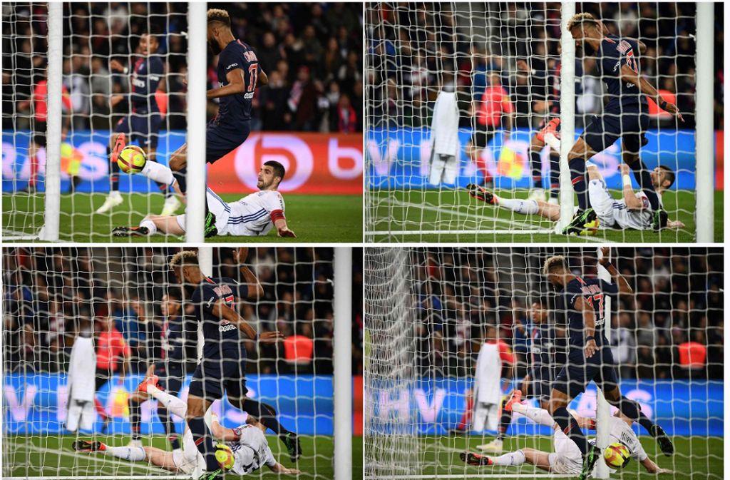 Der Kameruner Choupo-Moting hätte den französischen Fußball-Meister Paris St. Germain vorzeitig zum erneuten Titel führen können, klärte den Ball aber via Pfosten quasi auf der Linie. Foto: AFP