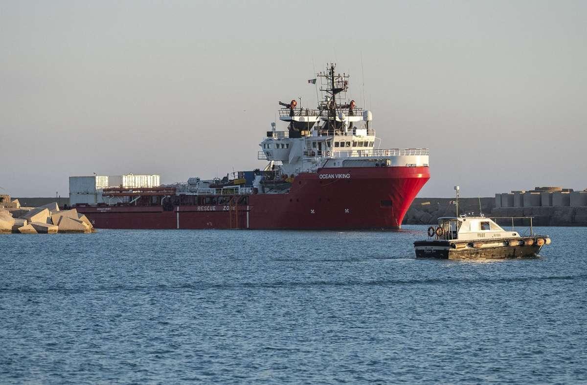 "Das Rettungsschiff ""Ocean Viking"" (Archivfoto). Foto: AFP/GIOVANNI ISOLINO"