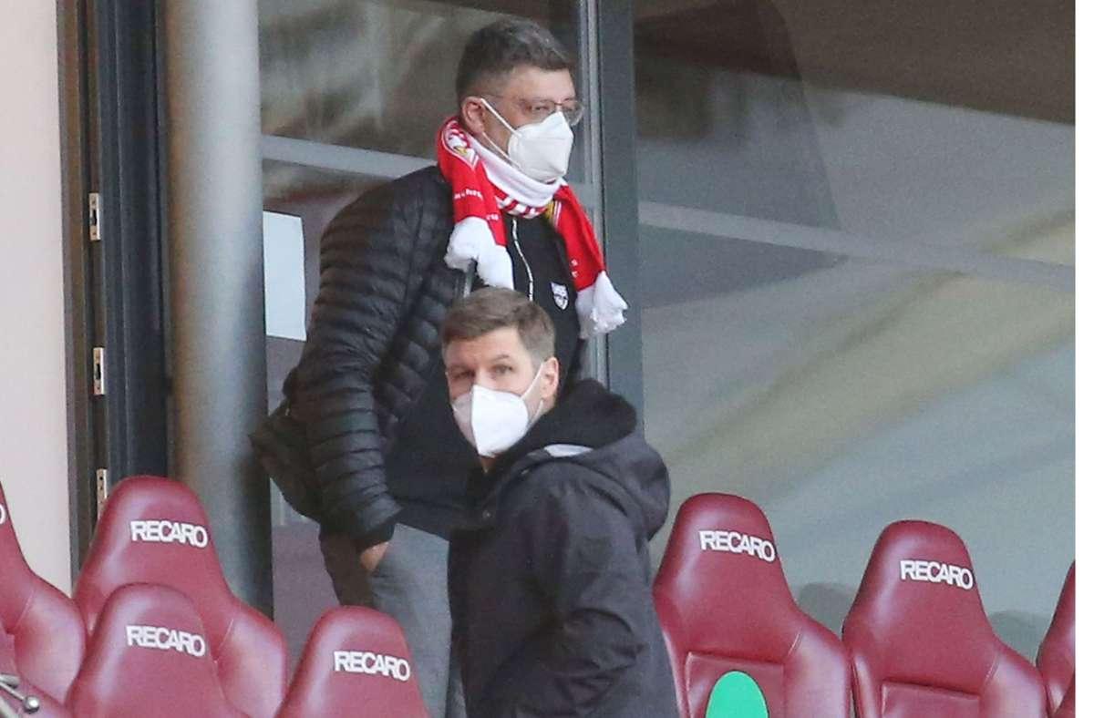 VfB-Präsident Claus Vogt (oben) und Vorstandschef Thomas Hitzlsperger sind sich einig: die Super League ist ein Schritt in die falsche Richtung. Foto: Baumann