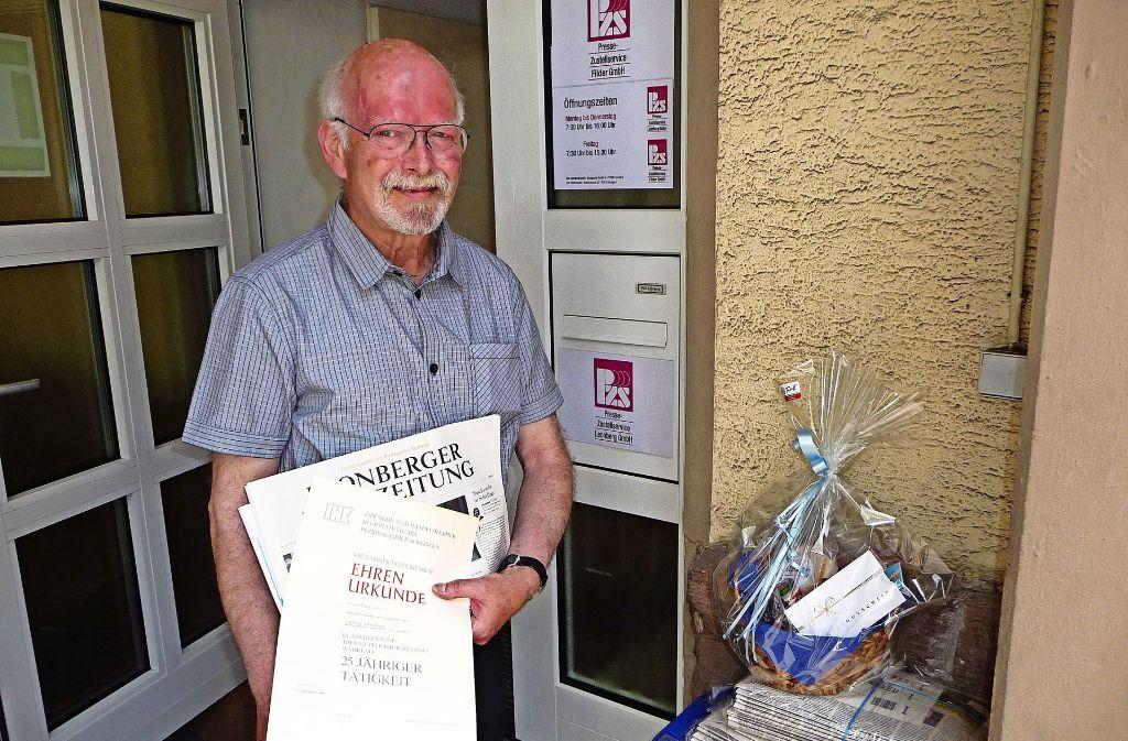 Seit 1979 hat Wolfgang Mörk sichergestellt, dass  die Leser jeden Morgen ihre LKZ im Briefkasten haben. Nach insgesamt 50 Jahren im Unternehmen geht er in Rente. Foto: Otto