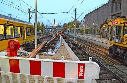 SSB erneuert Weichen am Vaihinger Bahnhof