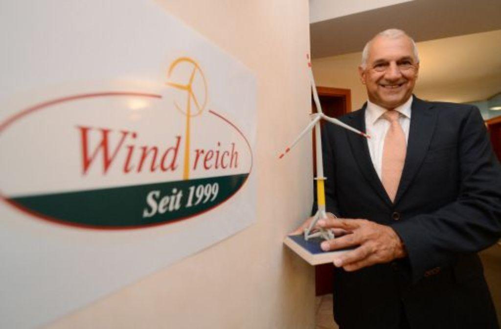 Der Windpark-Entwickler Windreich hat Insolvenz angemeldet. Er habe das Verfahren in Eigenregie nach dem neuen Insolvenzrecht beantragt, sagte Windreich-Chef Willi Balz (Foto) in Wolfschlugen (Kreis Esslingen). Foto: dpa