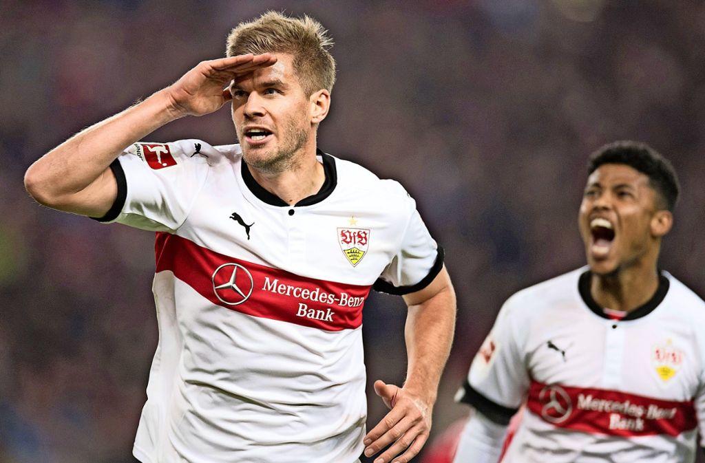 Wo bitte geht's nach Köln? Simon Terodde verlässt wohl den VfB Stuttgart.Auf Wiedersehen: Simon Terodde wechselt wohl zum 1. FC Köln. Foto: dpa