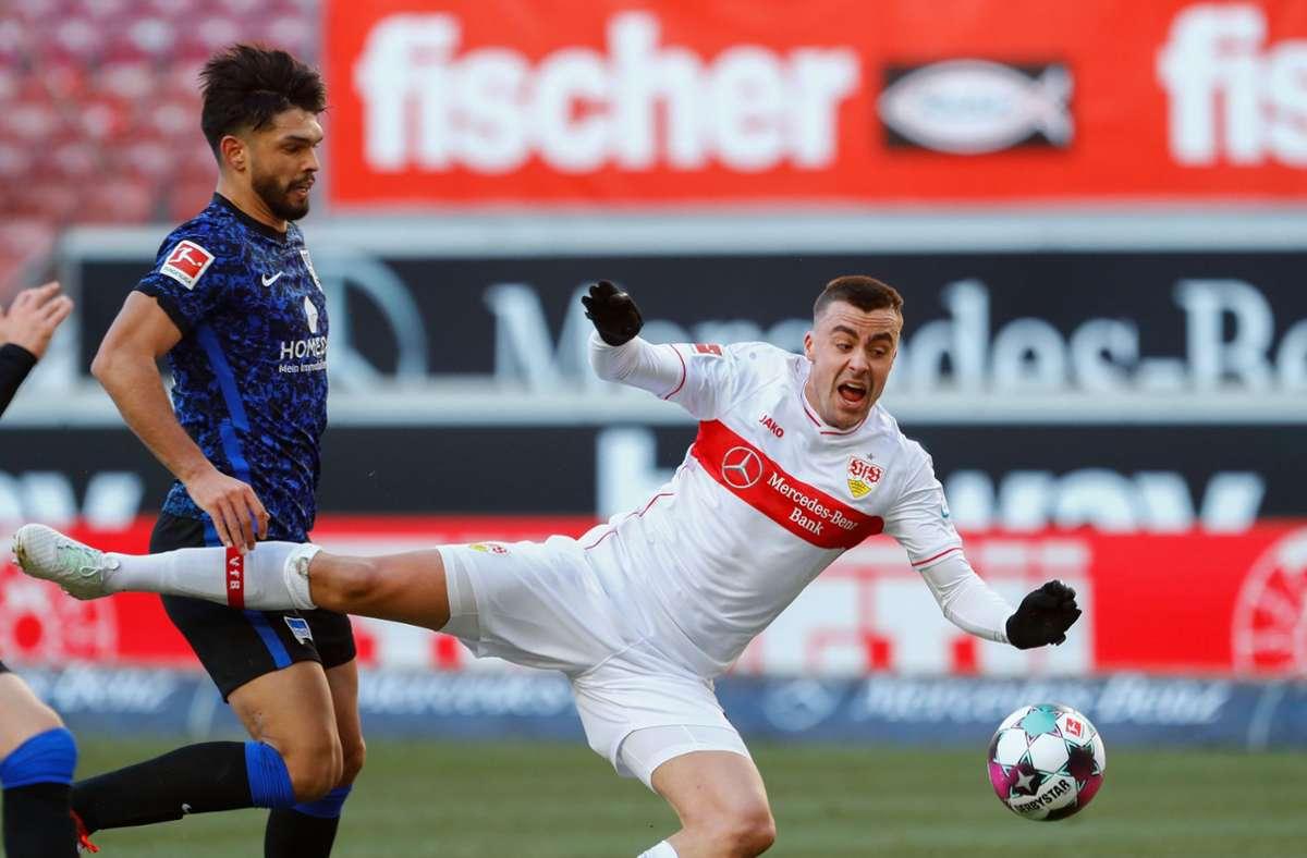 Gegen Hertha BSC hat der VfB Stuttgart 1:1 gespielt. Unsere Redaktion hat die Leistungen der VfB-Akteure wie folgt bewertet. Foto: AFP/RALPH ORLOWSKI