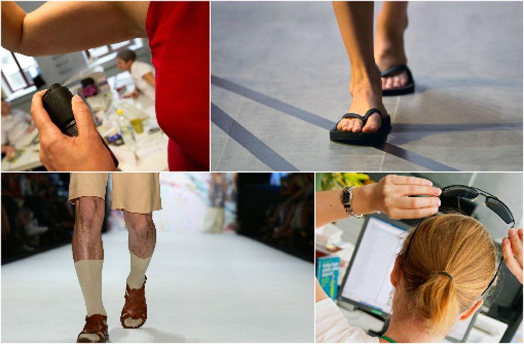 Was geht im Sommer im Büro und was nicht? Wir zeigen es in unserer Fotostrecke. Foto: dpa/Collage: STZN