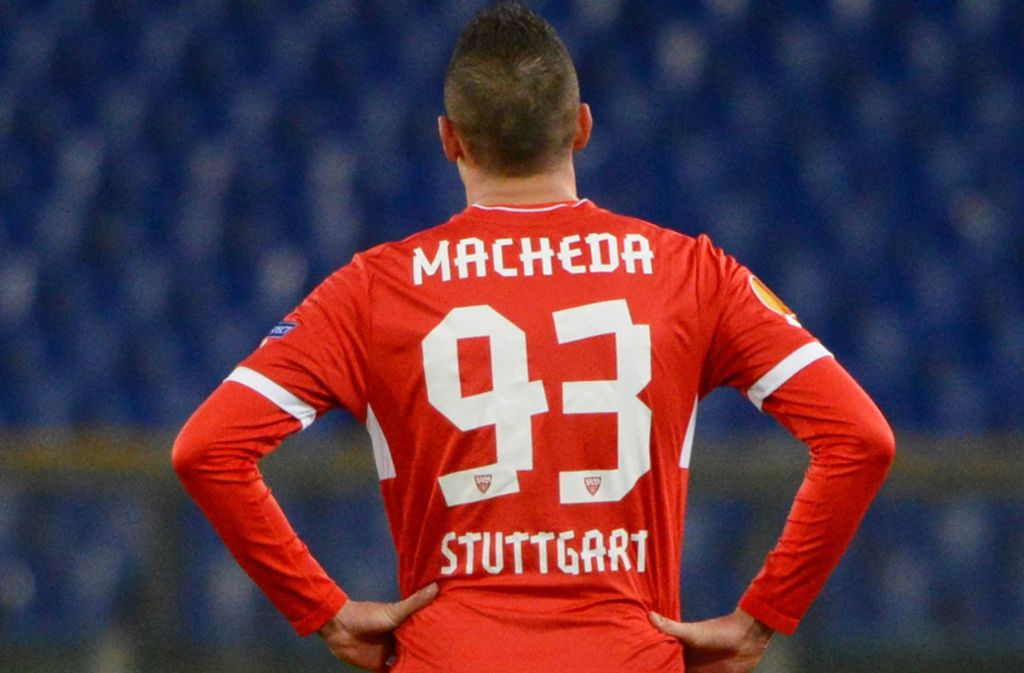 Federico Macheda trug zeitweise die Rückennummer 93 beim VfB, wie hier beim Europa-League-Spiel gegen Lazio Rom. Foto: dpa