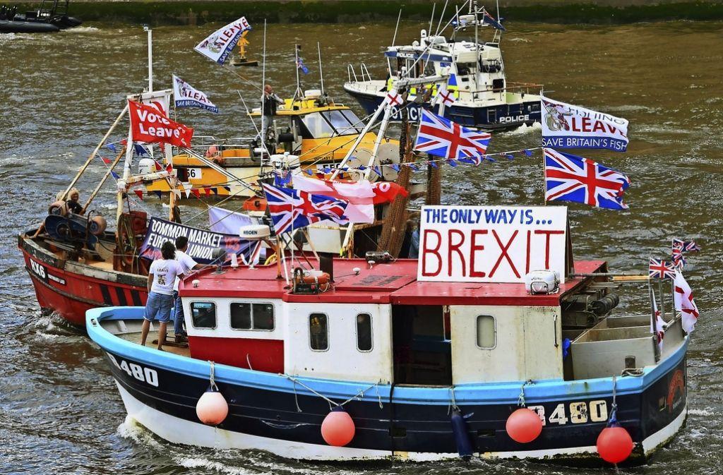 Die Kampagne der Brexit-Befürworter war sehr kreativ. Sogar auf der Themse warben sie für ihr Ziel. Foto: dpa