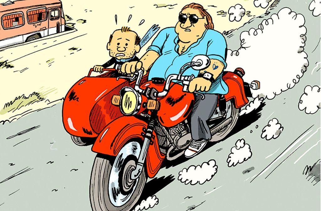 Gut unterscheidbar zeichnet Mathieu Sapin sich selbst (links) und Gérard Depardieu.Bild: Reprodukt Foto: