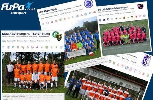 Vier beispielhafte Vereinsprofile bei FuPa Stuttgart. Foto: FuPa Stuttgart