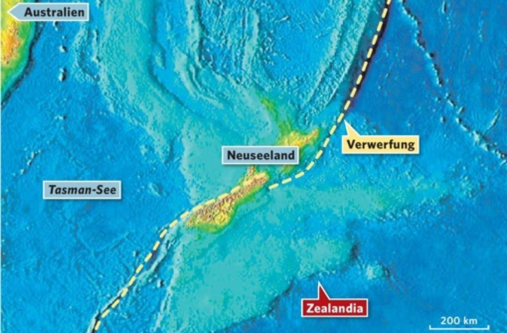 Ein Höhenprofil macht die Ausmaße des versunkenen Kontinents Zealandia deutlich. Außer Neuseeland liegt fast alles bis zu 1500 Meter unter Wasser. Foto: