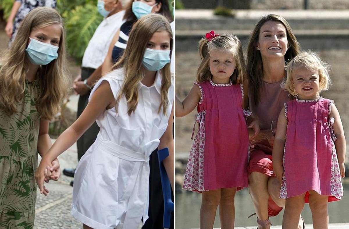 Zwischen diesen beiden Bildern liegen über zehn Jahre: Spaniens Infantinnen Leonor (auf beiden Fotos links) und Sofía. Foto: AFP/Jaime Reina