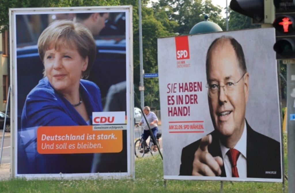 Merkel oder Steinbrück – wer führt künftig die       Bundesregierung? Foto: dpa-Zentralbild
