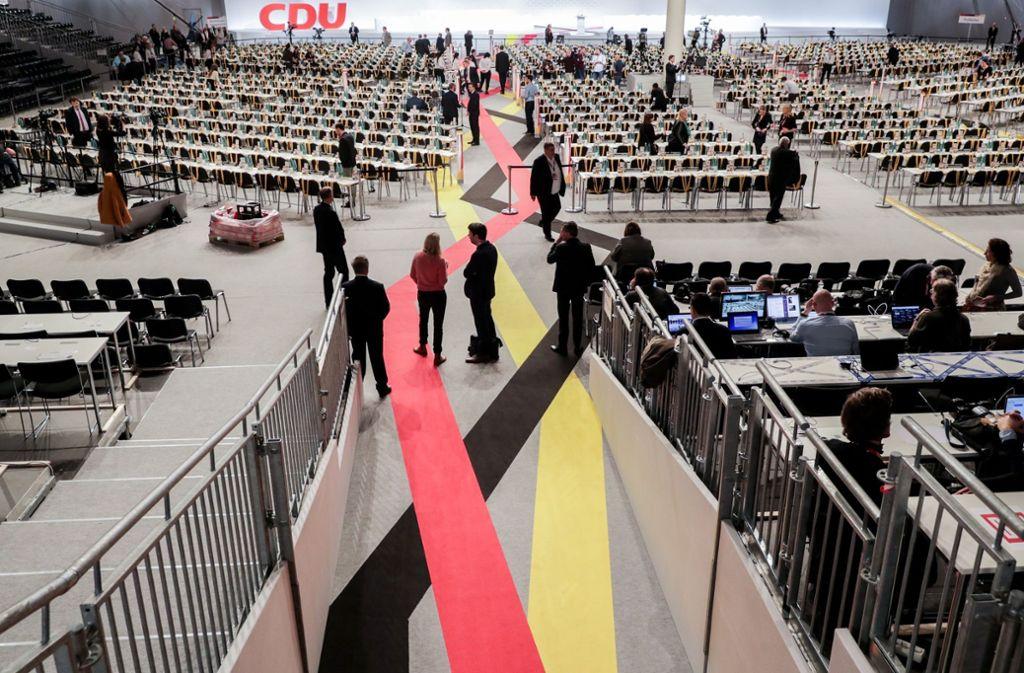 In dieser Messehalle in Hamburg wird über die Führung der CDU entschieden. Foto: dpa