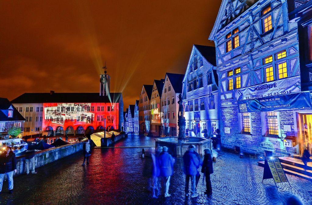 So prächtig illuminiert war der Böblinger Marktplatz bei der Langen Nacht 2014. Foto: factum//Andreas Weise/Simon Granville