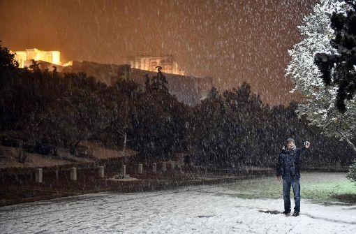 Akropolis versinkt im Schnee, minus 15 Grad auf Kreta