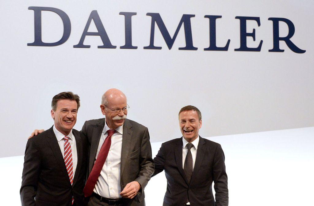 Wolfgang Bernhard, Dieter Zetsche und Bodo Uebber (von links). Foto: dpa