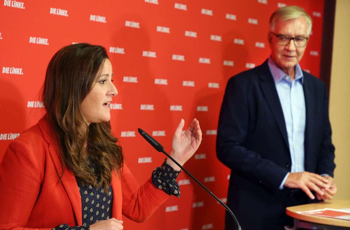 Linke-Spitzenkandidaten Janine Wissler und Dietmar Bartsch bei einer Pressekonferenz in Berlin Anfang September. Foto: dpa/Wolfgang Kumm