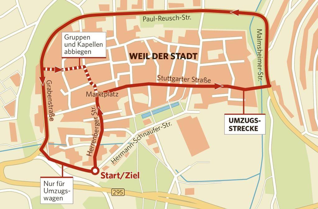 Der Umzug am Sonntag führt durch die Altstadt in Weil der Stadt Foto: /zap, oli