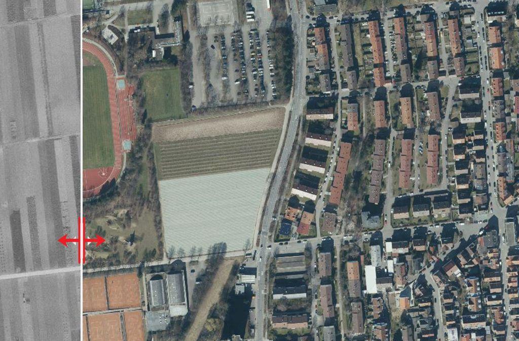 Das Max-Graser-Stadion steht westlich der Esslinger Straße. Foto: Stadtmessungsamt Stuttgart